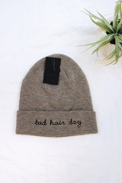 Bad Hair Day Embroidered Beanie - Gray - Red and Moon