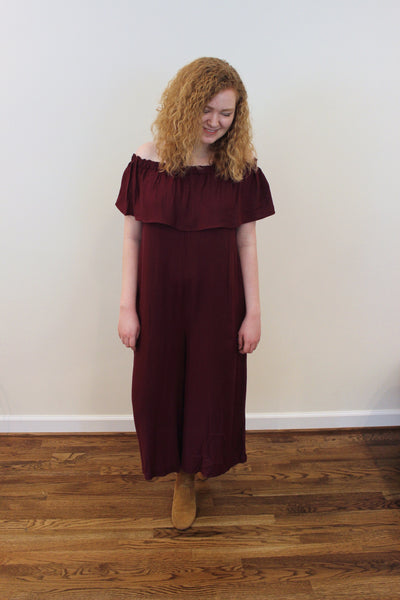 Holly Off The Shoulder Jumpsuit - Red and Moon