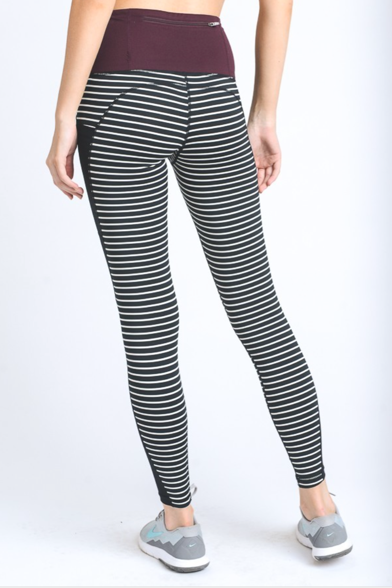 Stripe Mesh High Waist Leggings - Red and Moon