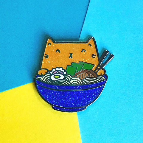 Ramen Cat Enamel Pin - Orange Glitter