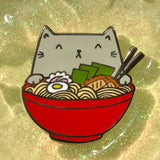 Ramen Cat Enamel Pin - Gray