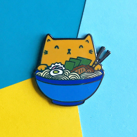 Ramen Cat Enamel Pin - Orange