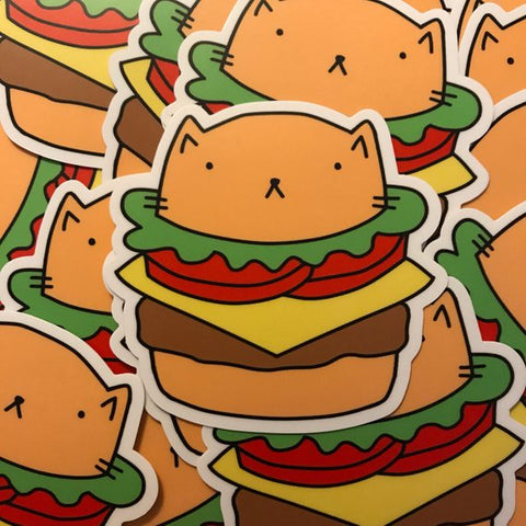 Cheeseburger Cat Vinyl Sticker