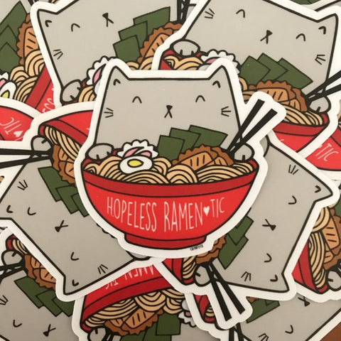 "Ramen Cat ""Hopeless Ramen-tic"" Vinyl Sticker"