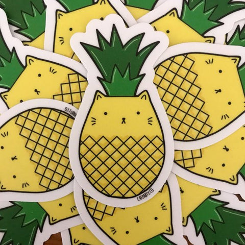 Pineapple Cat Vinyl Sticker