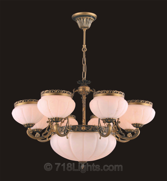 Alabaster Chandelier #4400H 8+3 Light