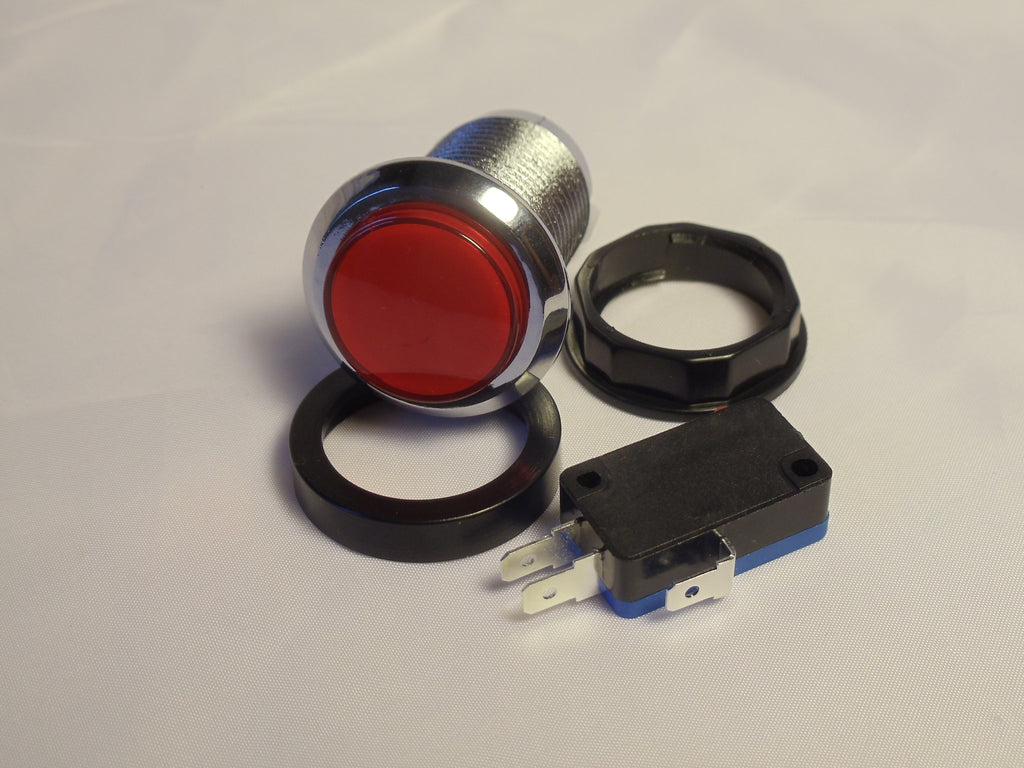 RED Chrome Led Lighted Button