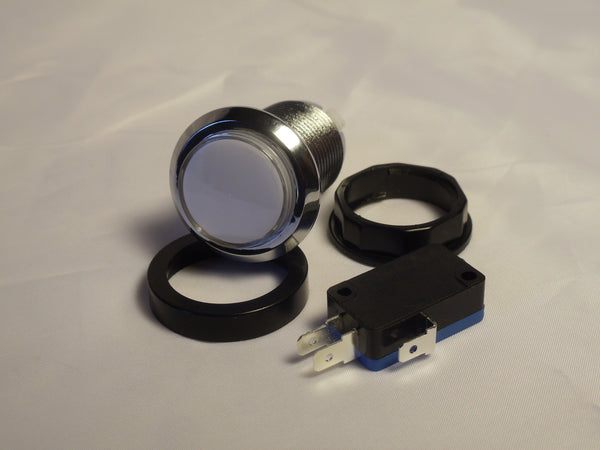 WHITE Chrome Led Lighted Button