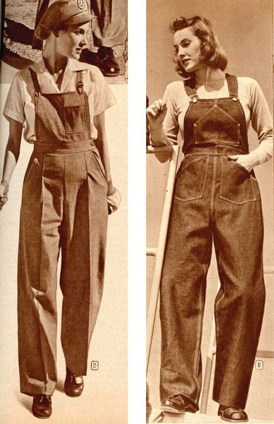 fashion history, 1940s fashion, American Look, overalls, WWII fashion