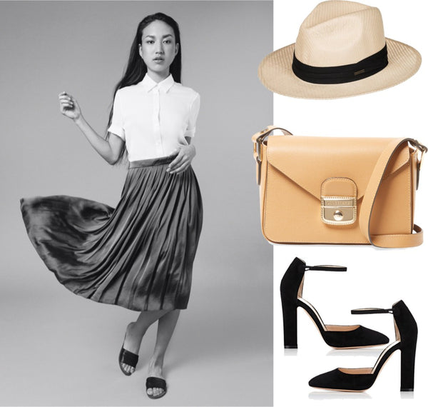 midi skirt, pleated skirt, white shirt, silk shirt, made in nyc, independent label, summer style