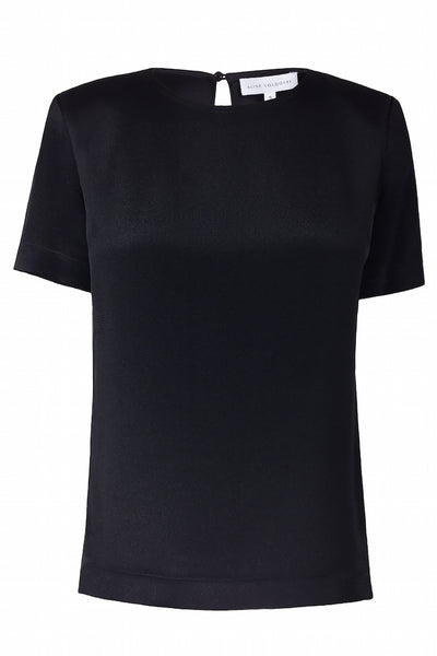 Silk T-Shirt with Keyhole Closure