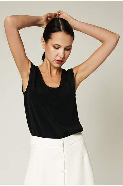 Sleeveless Silk Top - Black