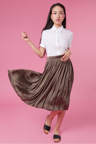 pleated skirt, perfect skirt, olive skirt