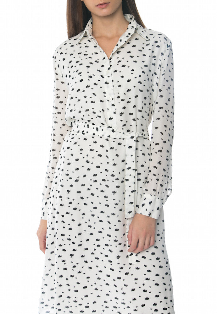 Lotus Print Shirt Dress