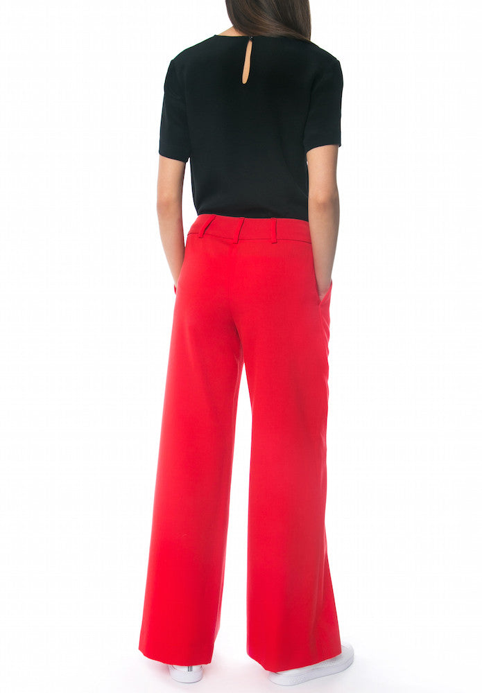 Marlene Wide-leg Pant, Red