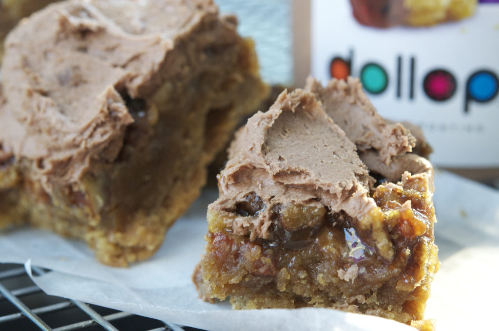 Hot Chocolate Bourbon Pecan Pie Blondies