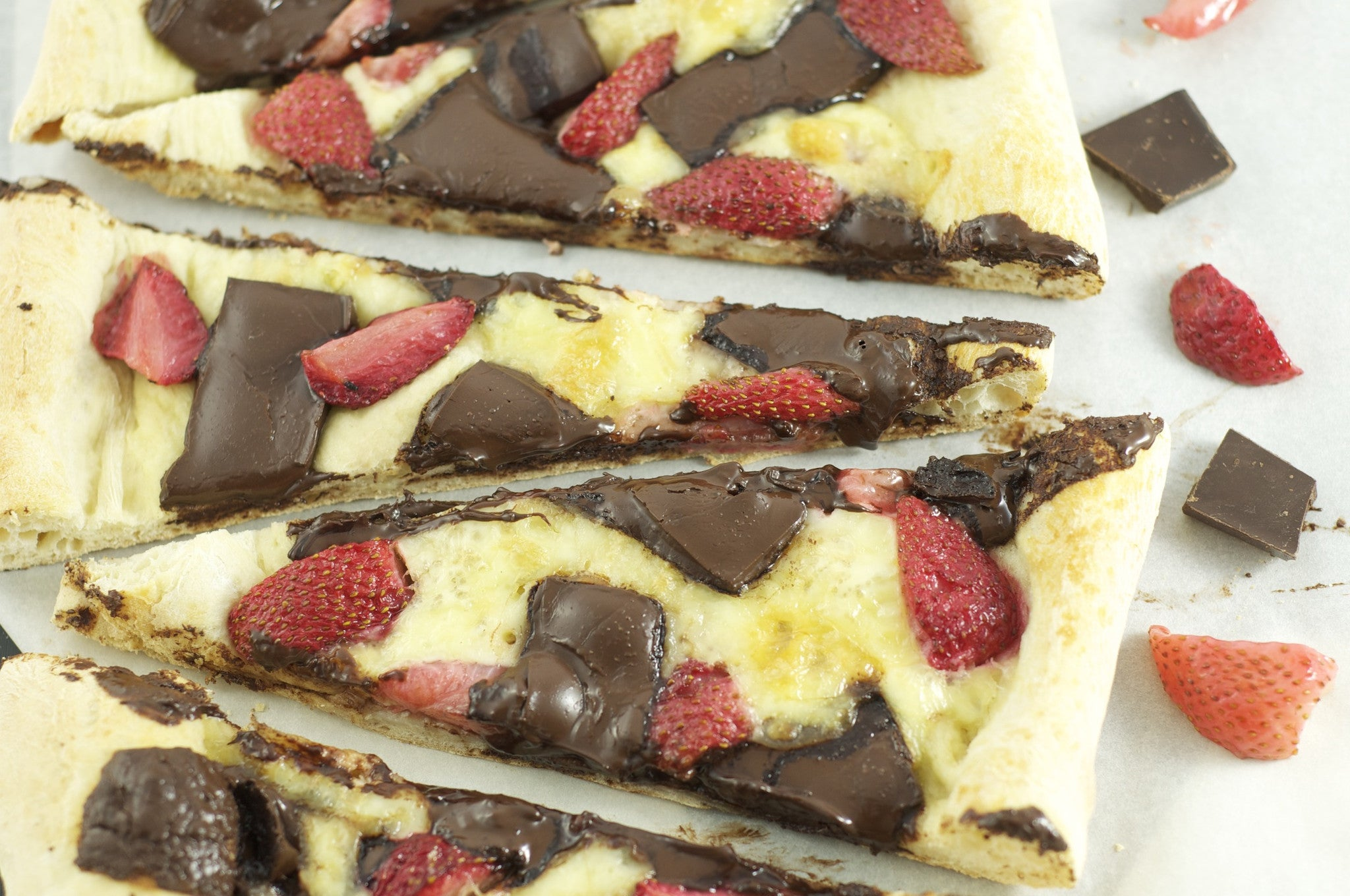 Roasted Strawberry, Chocolate, & Brie Pizza