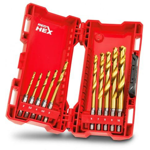 Milwaukee Red Hex Titanium Drill Set 10 Pce Kit - Milwaukee Red Hex Titanium Drill Set 10 Pce Kit - bcsupplies.com.au