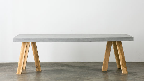 obi recycled teak concrete dining table