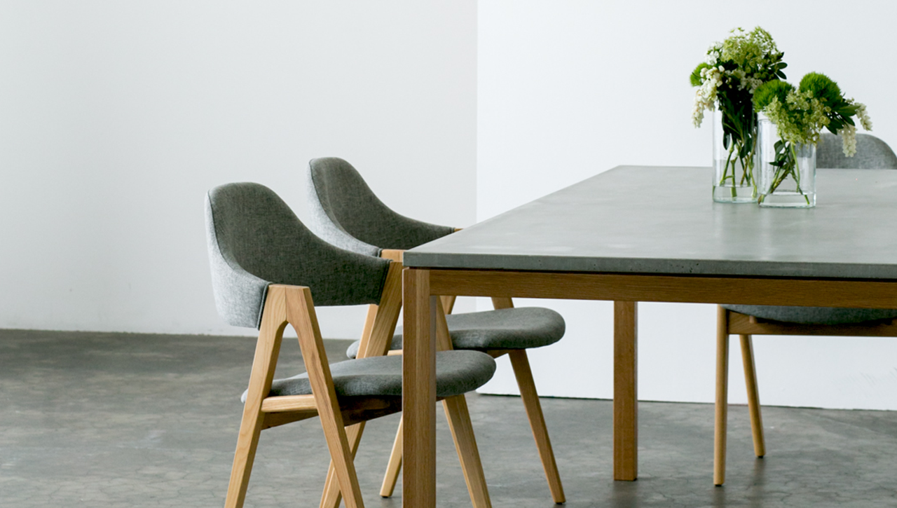 Slabs By Design Venice American Oak And Concrete Dining Table Slabs By Design