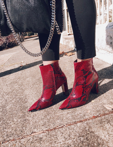 Red snakeskin boots Casanovas Italian Shoes