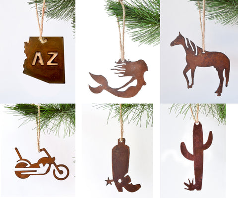 Rusty metal Christmas ornaments