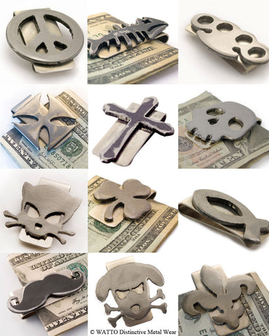 Money clips with charms made in the USA by Jon WATTO Watson