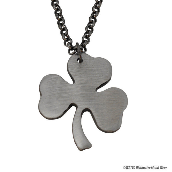 Shamrock Charm with Gunmetal Chain