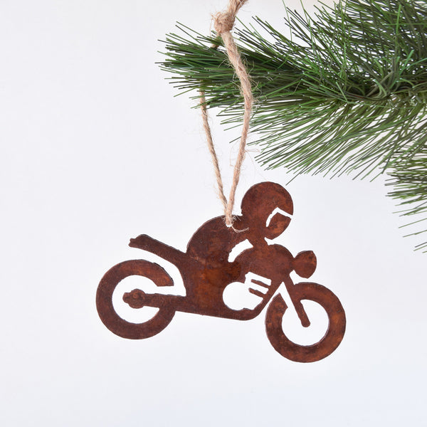 motorcycle rider ornament