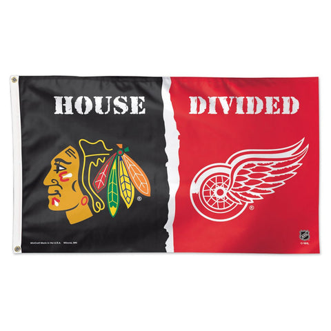 "Chicago Blackhawks & Detroit Red Wings ""House Divided"" Deluxe 3' x 5' Flag"