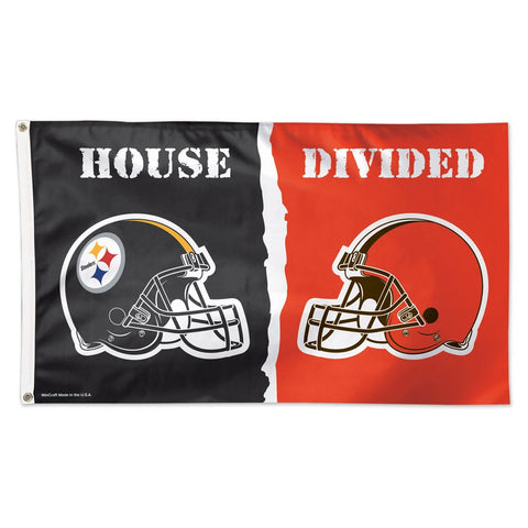 "Pittsburgh Steelers & Cleveland Browns ""House Divided"" Deluxe 3' x 5' Flag"