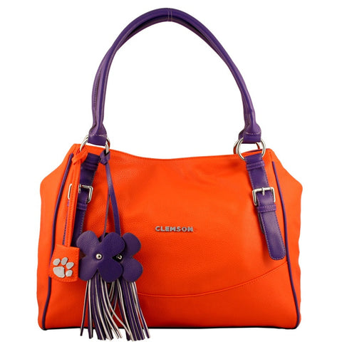 "Clemson Tigers ""Jet Set"" Purse With Dangle Flowers"