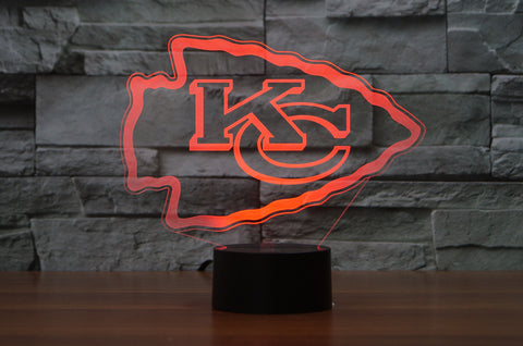 "Kansas City Chiefs ""Logo"" - 3D LED Lamp/Night Light"