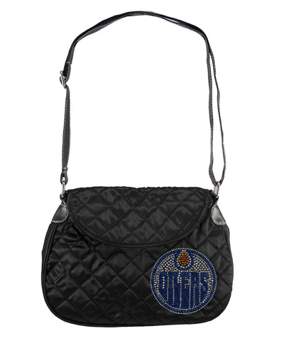 Edmonoton Oilers Sport Noir Quilted Saddlebag Purse