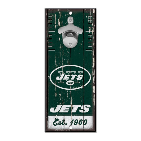"New York Jets Wood 5"" X 11"" Bottle Opener Sign"