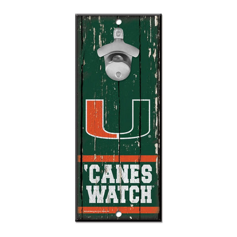 "Miami (Florida), University Wood 5"" X 11"" Bottle Opener Sign"