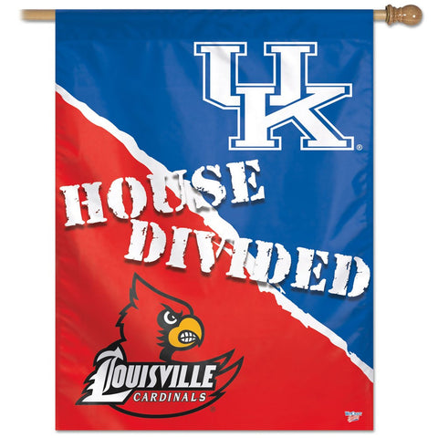 "Kentucky, University of & Louisville, University of  ""House Divided"" 27"" x 37"" Vertical Banner Flag"