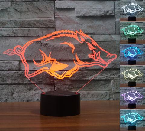 "Arkansas Razorbacks ""Logo"" - 3D LED Lamp/Night Light"