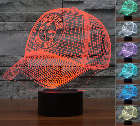 "Boston Red Sox ""Baseball Cap"" - 3D LED Lamp/Night Light"