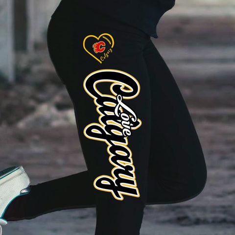 Love Calgary Flames Cotton Leggings