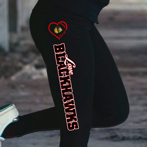 Love Chicago Blackhawks Cotton Leggings