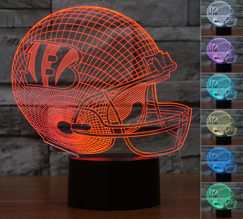 "Cincinnati Bengals ""Helmet"" - 3D LED Lamp/Night Light"