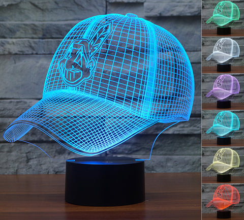 "Cleveland Indians ""Baseball Cap"" - 3D LED Lamp/Night Light"