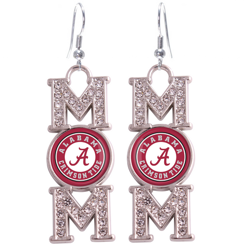 "Alabama Crimson Tide ""Mom"" Crystal Silver Earrings"