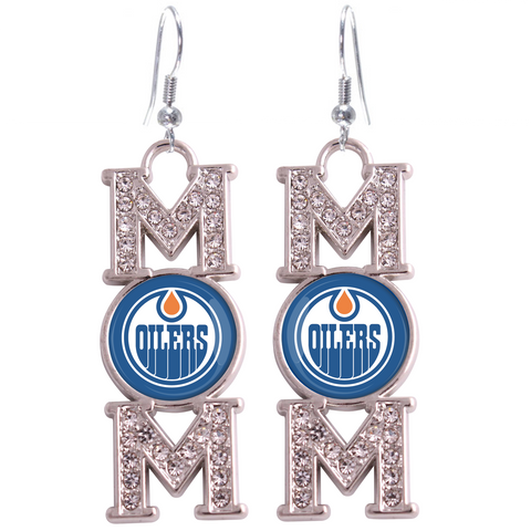 "Edmonton Oilers ""Mom"" Crystal Silver Earrings"