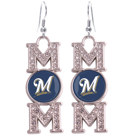"Milwaukee Brewers ""Mom"" Crystal Silver Earrings"