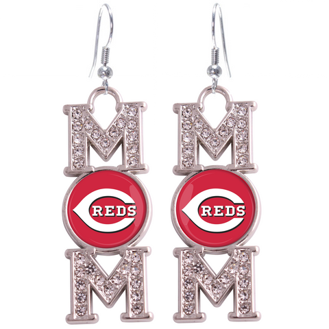 "Cincinatti Reds ""Mom"" Crystal Silver Earrings"
