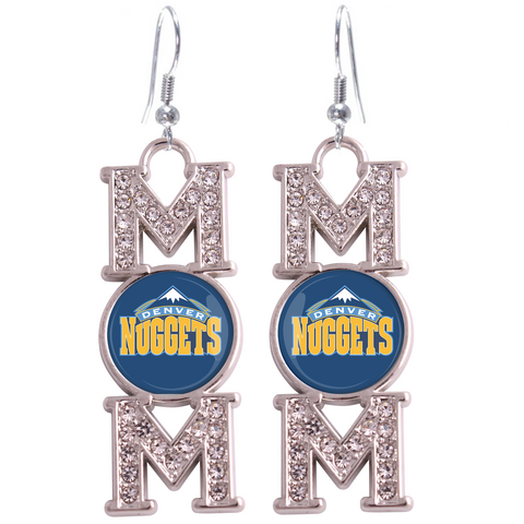"Denver Nuggets ""Mom"" Crystal Silver Earrings"