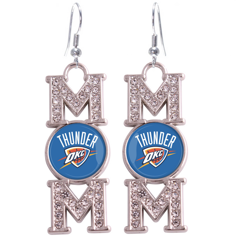 "Oklahoma City Thunder ""Mom"" Crystal Silver Earrings"