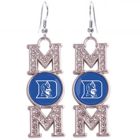 "Duke Blue Devils ""Mom"" Crystal Silver Earrings"